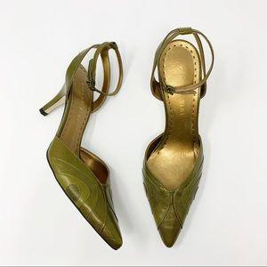Gianni Bini • Green Sling Back Leather Heels 8.5M
